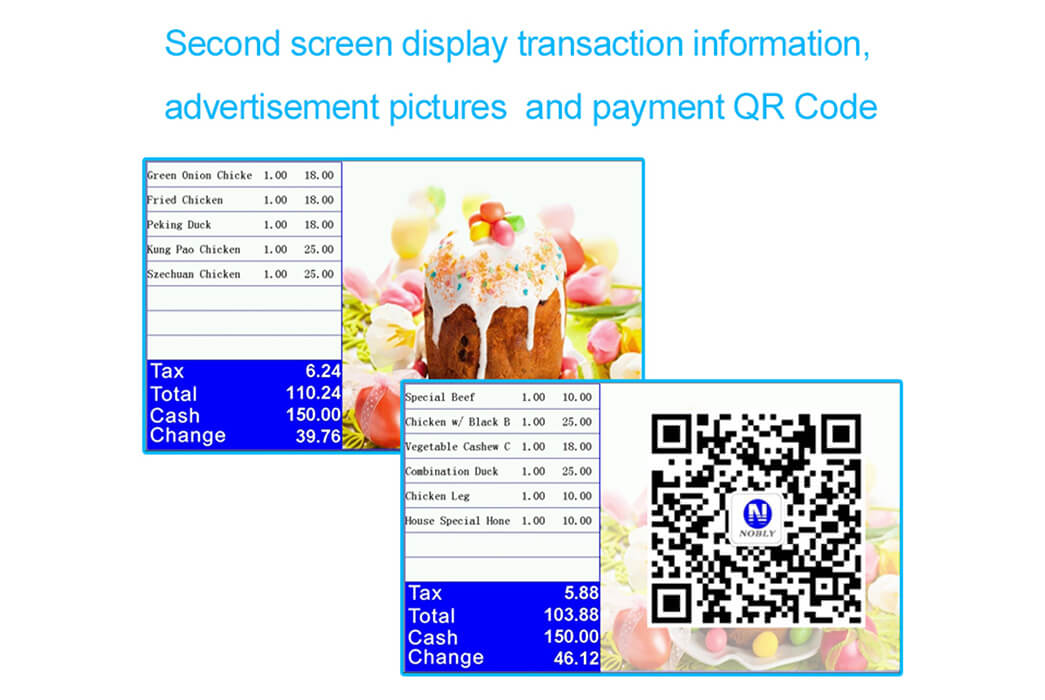 NOBLY Technology-Best Restaurant Pos, Nobly Register With 101 Inch Dual Screen-3