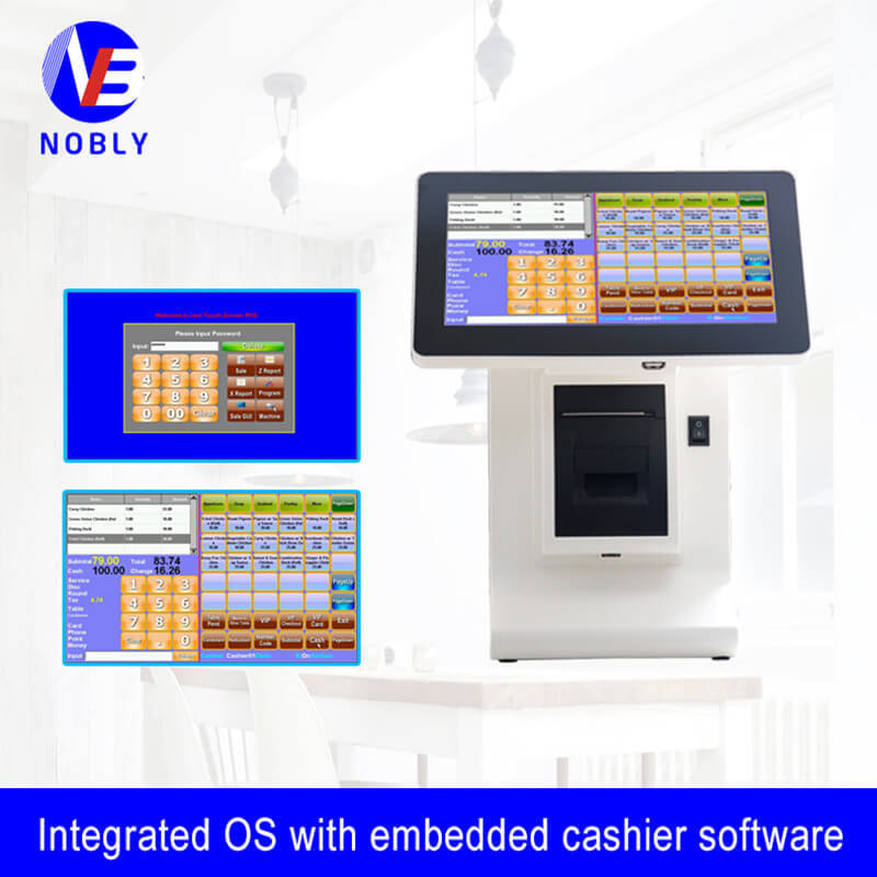 10.1 inch touch screen POS cash registers with 8digits customer display E86D simple