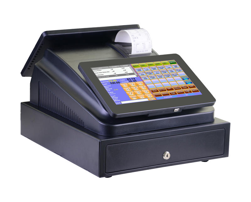 C86A Dual 10 inch touch screen POS cash registers kitchen printer setting